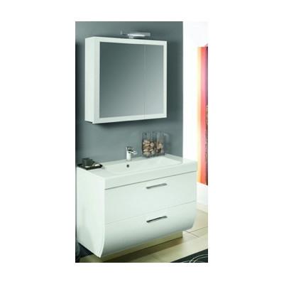 newday7 mobile da bagno bianco lucido cm773 con specchio contenitore e faretto