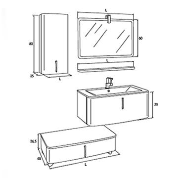 Ovo 01 mobile bagno a un cassettone con specchio rettangolare tortora rigato iotti - Mobili bagno iotti ...