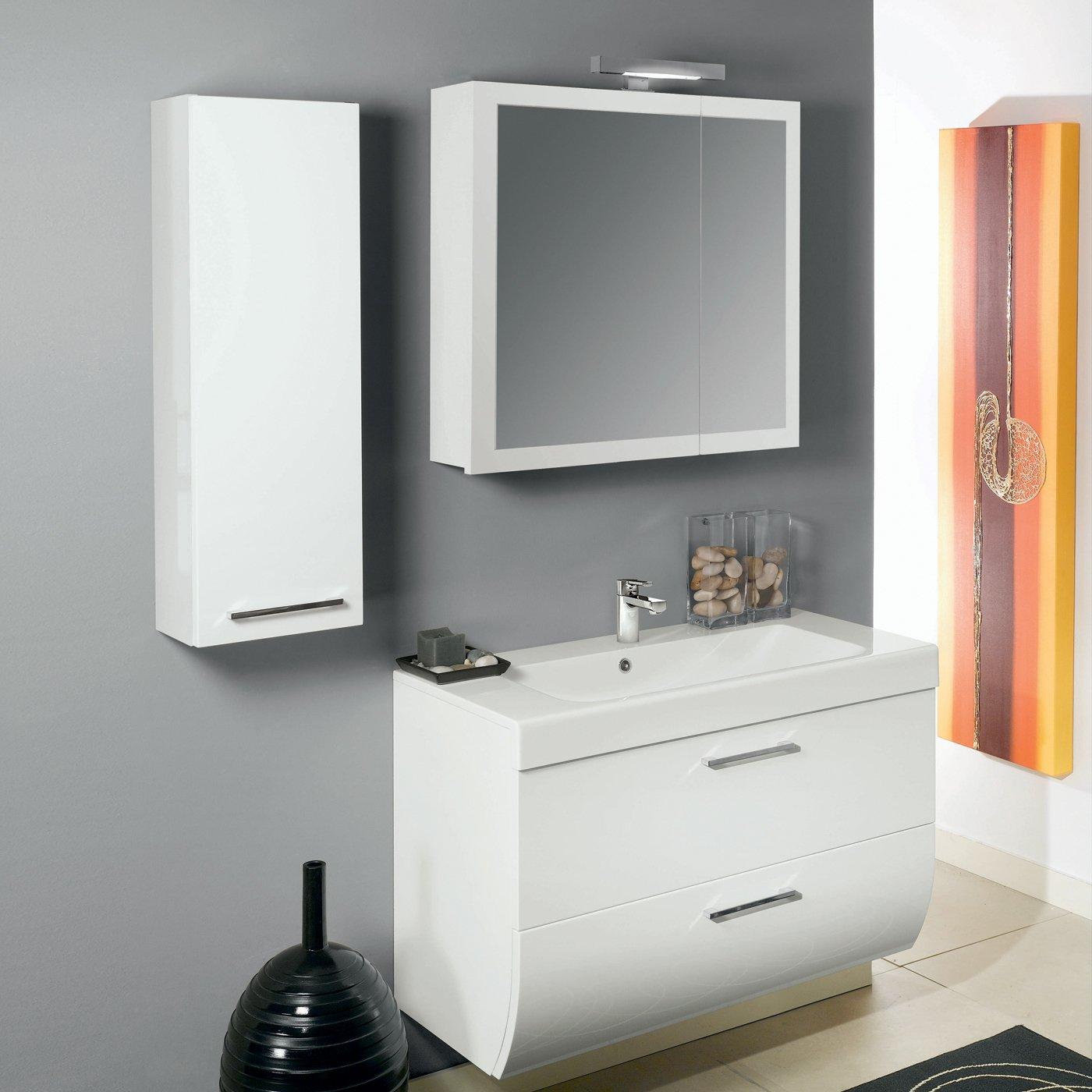 Mobile Specchio Da Bagno.Smile Mobile Da Bagno Bianco Lucido Cm 97 3 Con Specchio