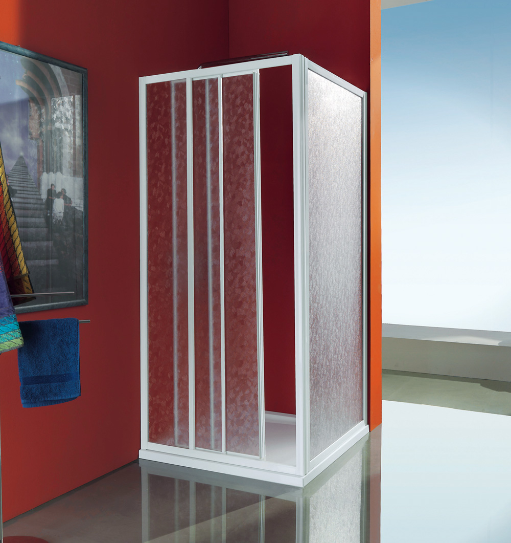 Ciao box doccia a tre ante scorrevoli vetro stampato profilo bianco samo - Box doccia ante scorrevoli ...