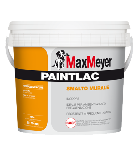 "PAINTLAC 10 Lt. Smalto per Muro Opaco  all'Acqua ""Certificato HACCP"" Max-Meyer"