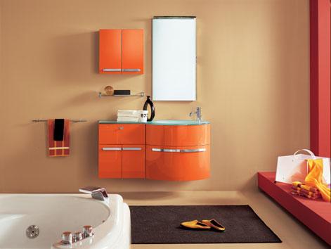 Topazio mobile da bagno arancio top in cristallo for Artesi arredo bagno