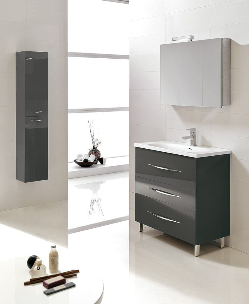 MAXIMUM 80  Mobile da Bagno cm.80  Antracite Lucido   ROYO GROUP