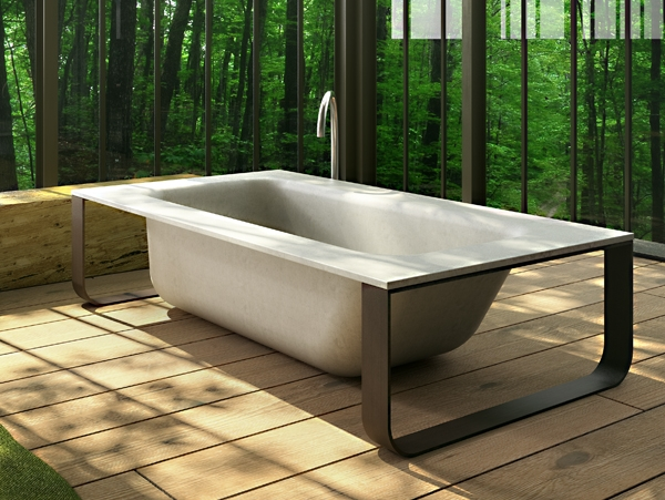 concrete bath  vasca in MineraLite   GLASS