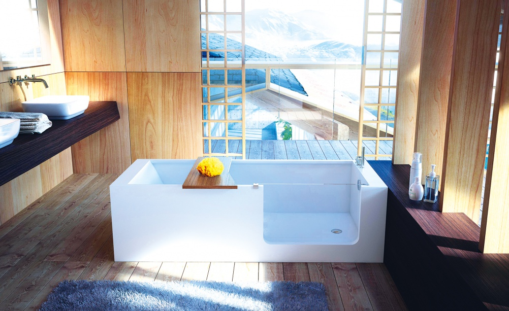 ELLE BATH  vasca in HardLite con accesso facilitato  GLASS