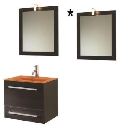 Mobile Bagno Specchio Contenitore.Mobile Sospeso Cm 60 Wenge Specchio Contenitore Lavabo In Vetro