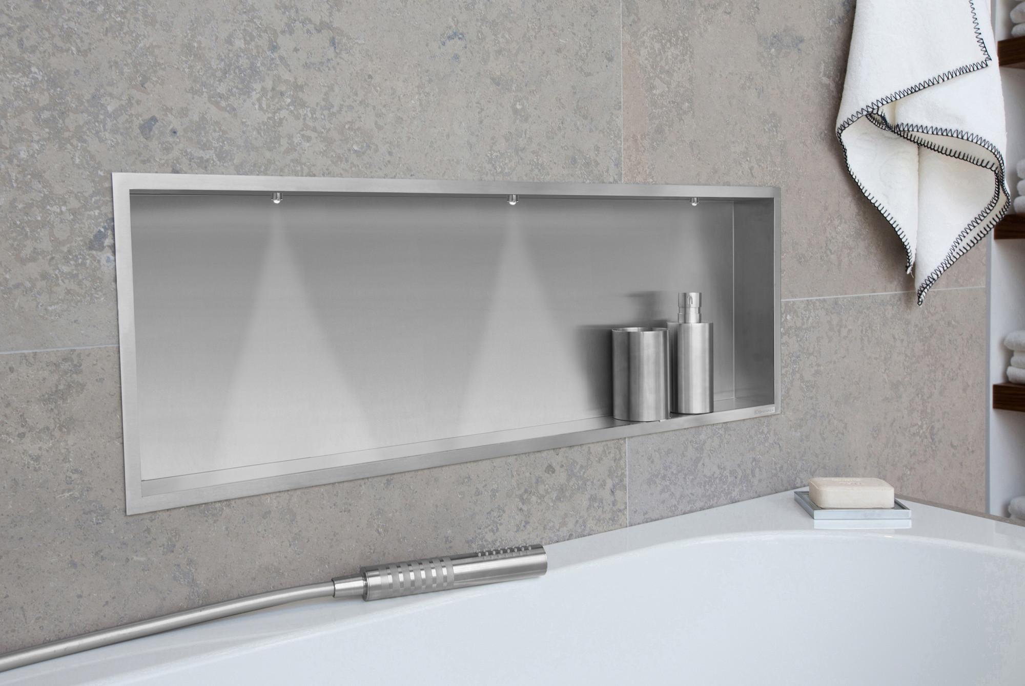 Illuminazione Bagno A Parete container box nicchia parete cm.90x30 xp.10 acciaio inox