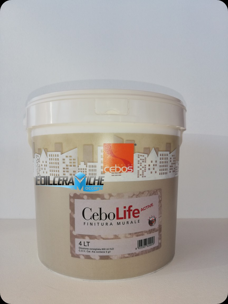 CEBOLIFE ACTIVE 4Lt. Pittura Murale Superlavabile  a Ioni d'Argeto   Antimuffa-Antibatterica    CEBOS COLOR